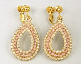 Pink Clip on Earrings, Pink Pearl Clip Earrings, Pink Gold Dangle Clip on Earrings, Pink White Pearl Gold Screw Back Earrings |EC1-36