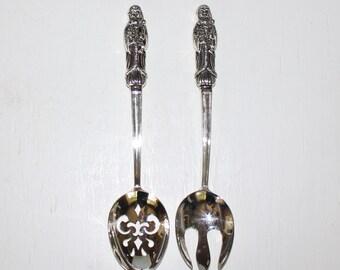 Beautiful,  Vintage Godinger Silver Art, Santa Serving Spoon and Fork