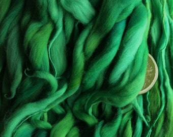 Clover - Handspun Merino Wool Yarn Green Thick and Thin Skein