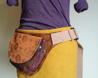 Gold Brown and Purple hip pocket belt Fanny pack