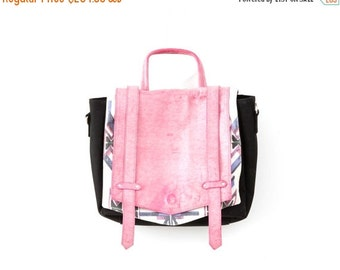 SALE - 50% OFF, white print canvas and pink leather  black shiny snake print Leather Messenger Bag for Women,  Briefcase , Functional