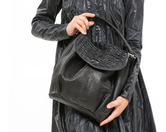 Womens black Leather Handbag, Fashion Fine Leather Hobo Bag, Slouchy Western Carryall Purse, Handmade Everyday Handbag, Sack Bag