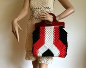 RESERVED for Sharon please do not buy vintage 1970s Macrame Purse Red Black and White large tote handbag crochet