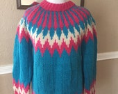 Vintage Neon Blue & Pink Zig Zag Tribal Sweater - 1980's Hand Knit - 100% wool -Large / XL Retro Sweater