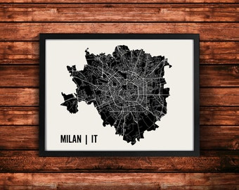 Milan Map Artwork | Map of Milan | Milan Italy Map | Milan City Map | Milan Poster | Milan Wall Art Print