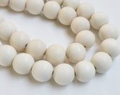White wood beads round 16mm full strand eco-friendly Cheesewood 1293NB