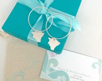 Hawaii Earrings, Big Island of Hawaii Hoops, Earrings Sterling Silver or 14K gf handmade by Sparrow Seas