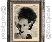 CIJ Bride of Frankenstein on Vintage Upcycled Dictionary Art Print Book Art Print Recycled Classic Movie Monster book lover art book lover g