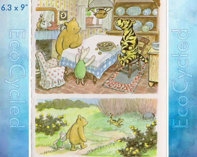 Tigger Winnie the Pooh and Piglet Paper Vintage Ephemera Book Page original full page Shepard Illustration  bookworm gift
