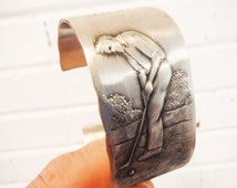 Vintage golf jewelry cuff bracelet peweter metal handmade Natale John Ruan golfer golfing unusual