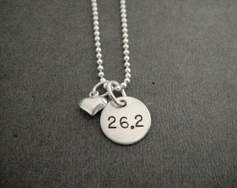 LOVE 26.2 Puffed Heart Sterling Silver Marathon Running Necklace - 16, 18 or 20 inch Sterling Silver Ball Chain - Marathon Love - 26 Point 2