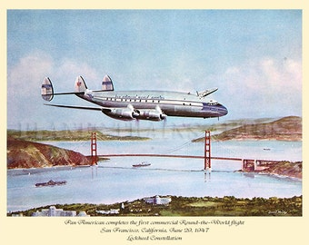 Vintage Pan American Poster 1947. The first commercial Round-the-World flight. Digital Download PRINTABLE POSTER
