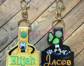 Dogs with Name Key Fob Set embroidery design digital instant download