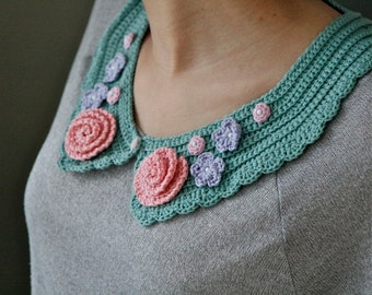 "Crochet pattern for Collar ""Flower Garden"" - PDF crochet collar pattern"
