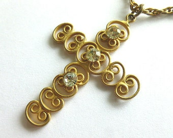 Openwork GOLDTONE RHINESTONE Cross, Vintage Lightweight Feminine Cross, Goldtone Cross with Neck Chain, Vintage Cross Necklace, Gift for Her