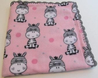 Fleece Baby Blanket with crocheted edge, Zebra Baby blanket, pink fleece blanket, Baby gift, Baby shower gift