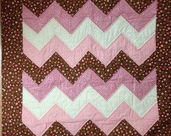 Brown and Pink Chevron Baby Quilt