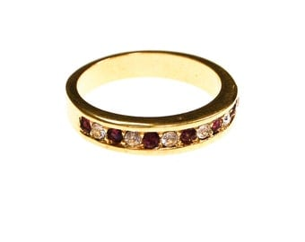 Purple and Diamante CZ Ring, Gold Tone, Channel Set Band,