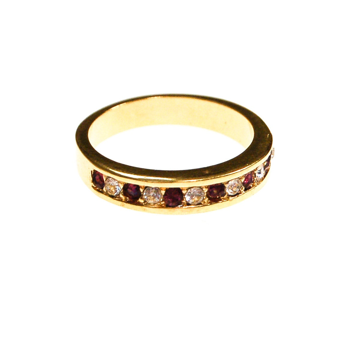 purple and diamante cz ring gold tone channel set band