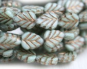 Leaf beads - Pale blue green, Old patina, Czech glass pressed leaves - 11x8mm - 10Pc - 0278