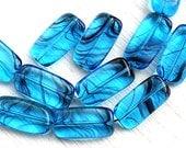 Aqua blue beads, Rectangular czech glass beads, blue rectangle beads - 18x10mm - 10Pc - 2493