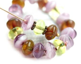 5x8mm Rondelle beads mix, Garden colors, Purple, Olivine, Yellow Czech glass beads, donut, rondel - 25Pc - 0429