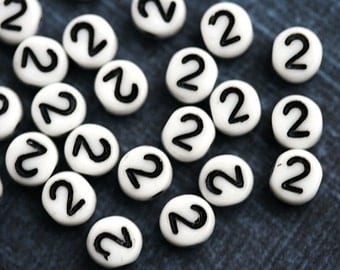 2 Number beads, white czech glass beads with black inlays, number 2 bead, symbol, 6mm - 25pc - 2464