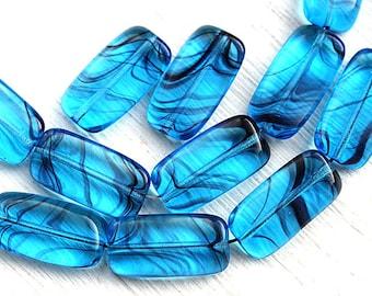 Aqua blue beads, Rectangular czech glass beads, blue rectangle beads - 18x10mm - 10Pc - 2913