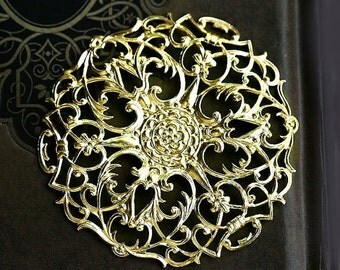 30%OFF SALE Large Filigree Round 55mm, Raw brass, pendant wrap, connector, ornament - 1Pc - F087