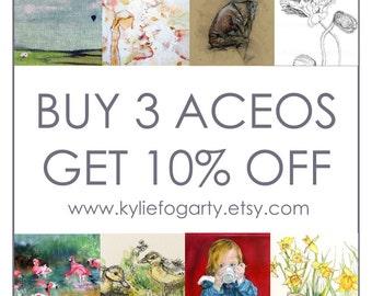 Fine Art Open Edition ACEO Print Set, Buy 3 Get 10% off, Botanical, Animal,Figurative, Landscape, Portraiture, Miniature Art Prints