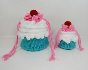 Cupcake Purse Crochet Pattern - Cupcake Purse in Two Sizes Crochet Pattern #503 - Instant Download PDF