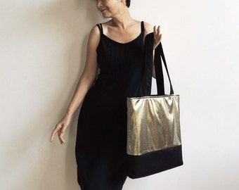 Midnight Comet Tote : Metallic Gold and Black Wool Felt Tote Bag