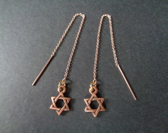 Star of David, Threader Earrings! Star of David Charms, Rose Gold Filled Threader Earrings! OOAK! Judaic Gift, Birthday Gift, Holiday Gift