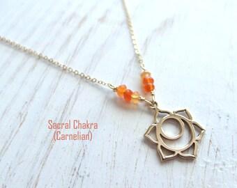 Sacral chakra Necklace, 14kt gold filled, Syadisthana Necklace, second chakra, chakra jewelry, carnelian necklace, orange, chakras, yoga