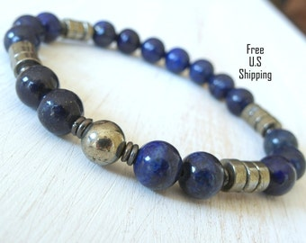 Protection & Inner truth Men's Lapis lazuli with Pyrite,  Meditation bracelet, Reiki Charged, free shipping