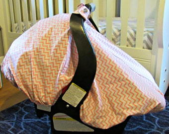 Cool 100% Cotton Baby Car Seat Canopy Cover Pink and Gray Chevron (fitted), FREE MONOGRAMMING