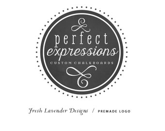 Custom Logo Design Premade Logo Design and Watermark for Photographers and Small Businesses Round Chalkboard Frame with Handwritten Text