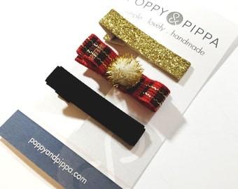 Christmas Plaid Hair Bow - Red and Black Plaid Hair Bow - Gold Hair Clip - Black Velvet Clip - Christmas Hair Clip Set - Holiday Hair Clips