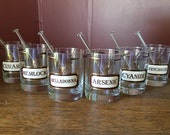 RARE- Set of 6 Name Your Poison Vintage Tumbler Drinking Glasses With 6 Swizzle Sticks