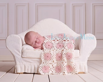 Newborn Baby Blanket,  Cream, Pink, Photo Prop
