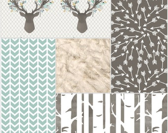 Baby Girl Crib Bedding - Aspen Stag, Broken Chevron, Random Arrows, Birch Trees, and Ivory Crushed Minky Crib Bedding Ensemble