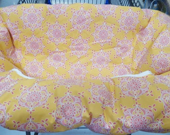 Cart Cover- Reversible Pink Yellow Damask and Pink Polka Dots Highchair/Cart Cover