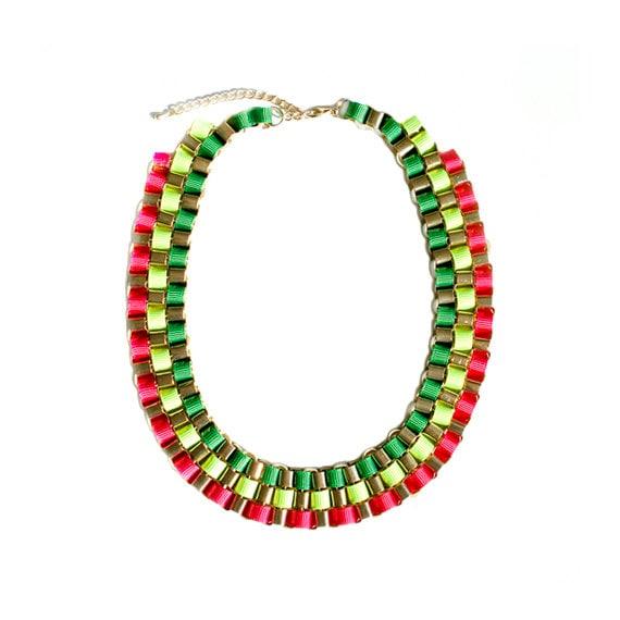 Color Block Box Chain Necklace - Multi