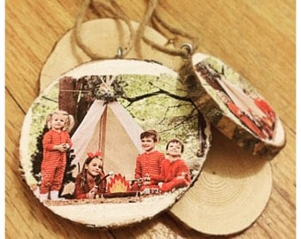 Customized Family Photo Wood Ornament.