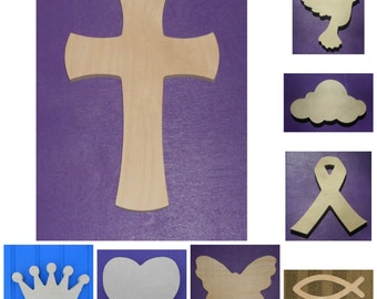 "Wood Shapes - 6"" Size - Religious - Faith - Cause - Inspirational - Hope - Unpainted Wooden - Wall Hanging Decor - Kids Craft - DIY Project"