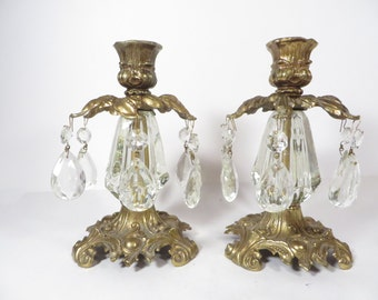 Vintage Crystal and Marble Candle Holders