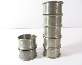 Vintage Pewter Napkin Rings - Set of 7 Monogrammed Pewter Napkin Rings