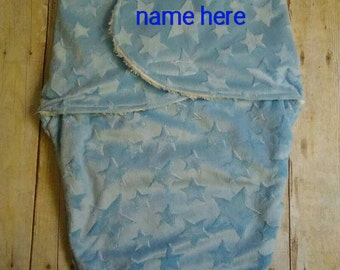 Custom Personalized Minky Swaddle Blanket Blue Stars