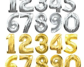 Large Number/ Alphabet Balloons/40inch Gold/silver Mylar Balloons for back drops, photo props, parties decorations