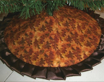 """Tabletop Fall / Autumn Tree Skirt - 24"""" - Leaves with Sparkles"""